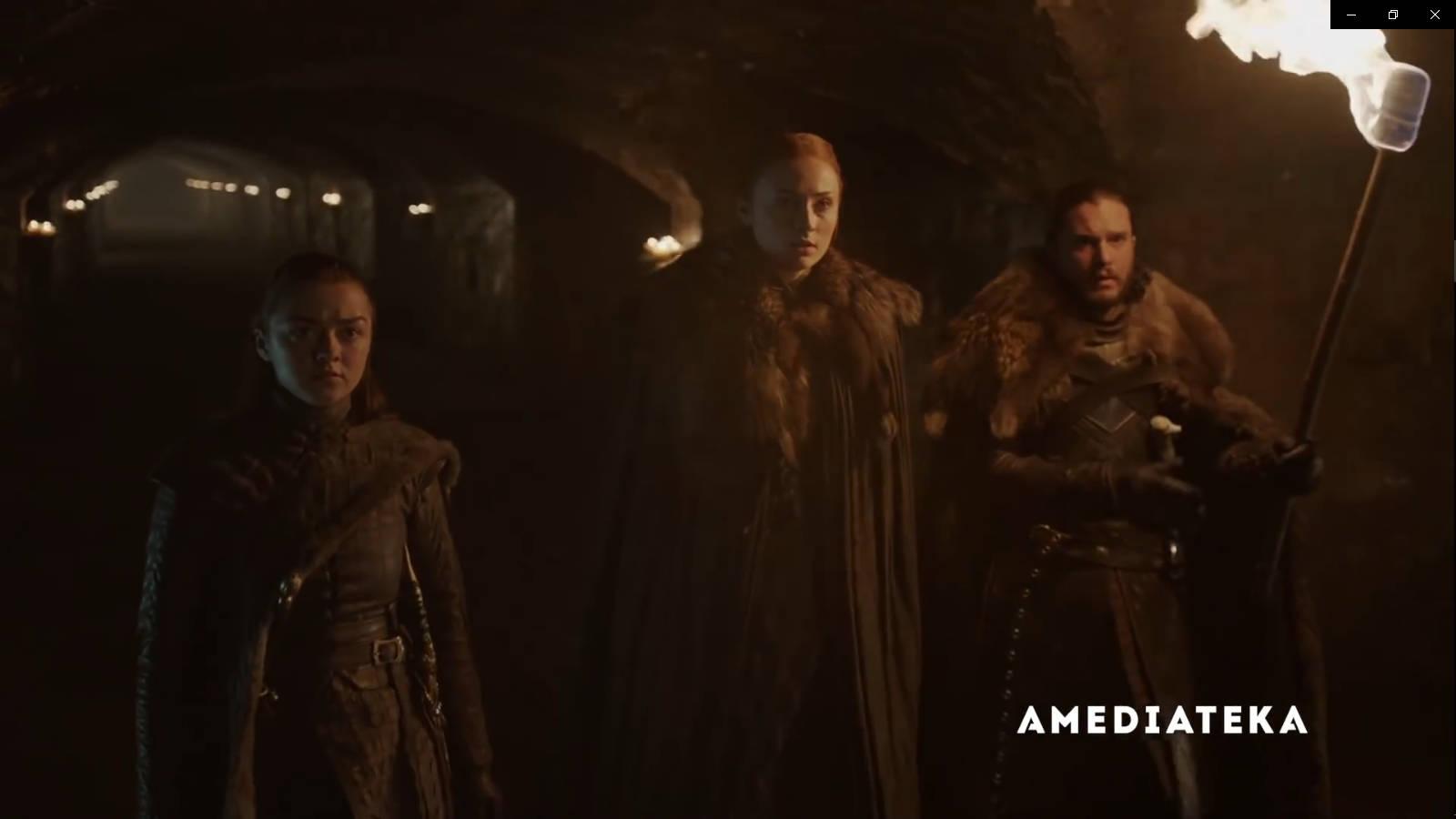Джон Сноу,Ария Старк и Санса Старк в 8 сезоне Игры престолов