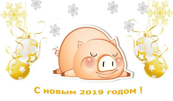 С новым годом 2019 желтой свиньи!