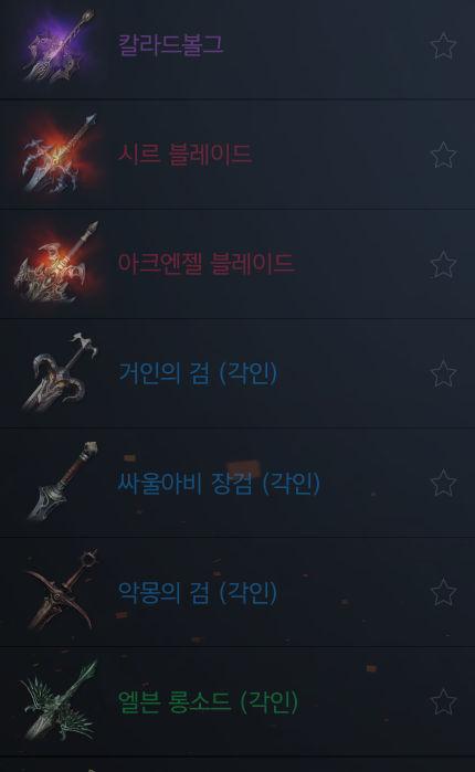 Оружие в Lineage 2m