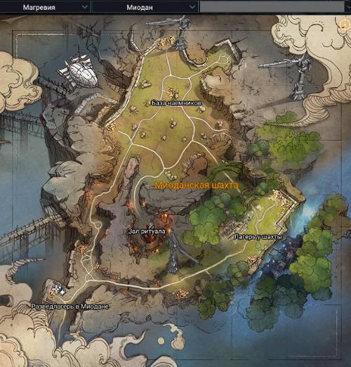 Карта Миодан